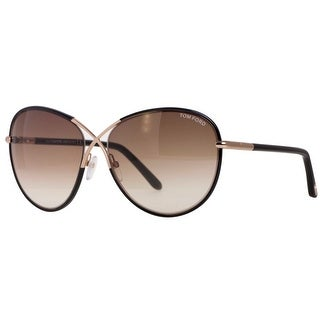 Tom Ford Rosie TF344 01B Black Leather Rose Gold Women's Butterfly Sunglasses - Black/Rose Gold - 62mm-13mm-130mm