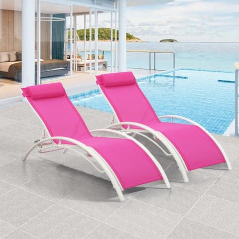 Ainfox 2 Pcs Patio Chaise Lounge Outdoor Lounge Chairs Height Adjustable For Women