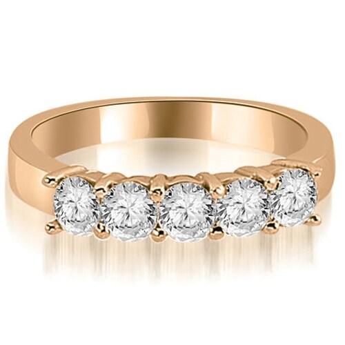 1.50 cttw. 14K Rose Gold Round Diamond Classic 5-Stone Prong Wedding Band