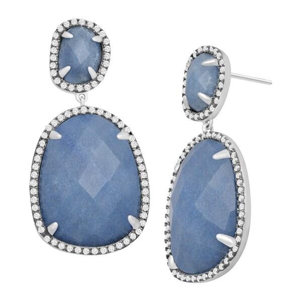 Natural Blue Quartz & Cubic Zirconia Drop Earrings in Sterling Silver