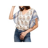 Lucky Brand Womens Blouse Printed Dolman Sleeves