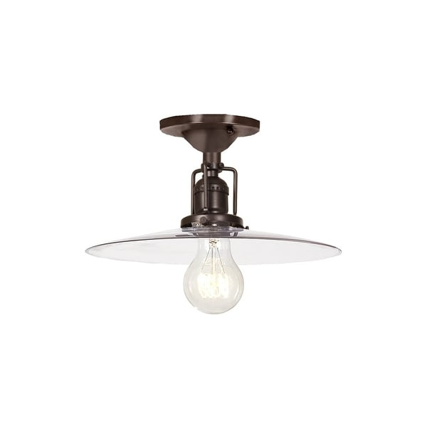 "JVI Designs 1202-08-S6 Union Square 1 Light Semi-Flush 6.25"" Tall Ceiling Fixture with Clear Mouth-Blown Glass Shade"
