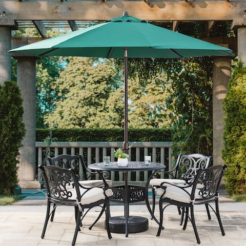 5 Piece Outdoor Cast Aluminium Olefin Cushions Dining Set by Glitzhome Elm Plus