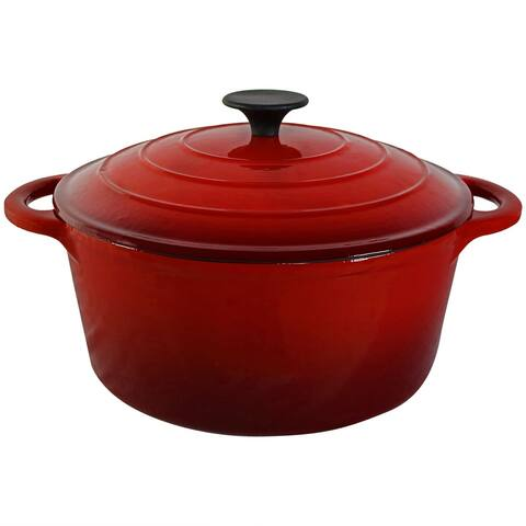 Sunnydaze Red Enamel Cast Iron Pot - Pre-Seasoned - Large 5-Quart - 9-Inch Pan - Red Red Cherry
