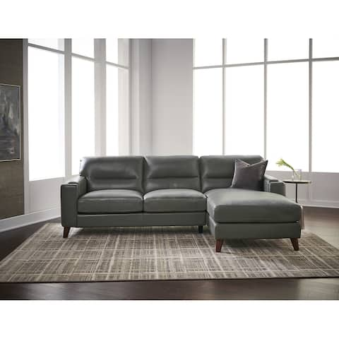 Hydeline Elm Top Grain Leather Sectional Sofa with Chaise