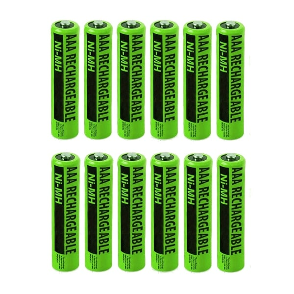 NiMH Premium AAA Size Rechargeable Replacement Batteries w/ High Capacity 1800mAh (12-Pack)