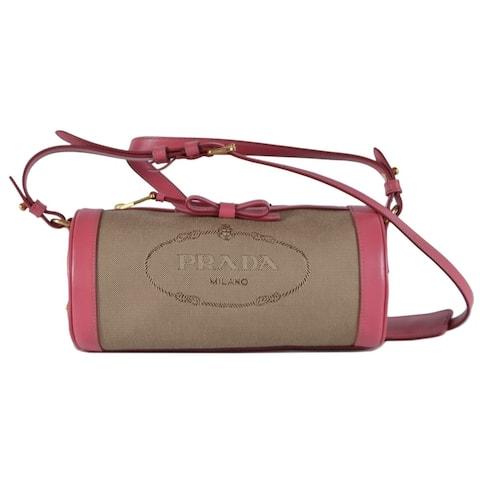 eda6fdf72dd2 Prada 1BH126 Pink Bandoliera Bowtie Small Barrell Crossbody Purse Handbag -  Beige