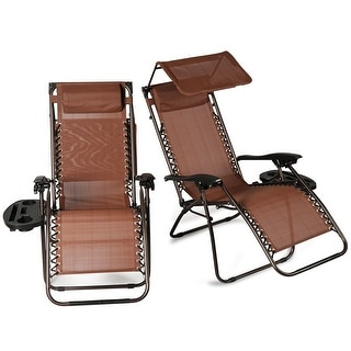 Belleze Set of (2) Zero Gravity Chair Recliner Lounge Chairs w/ Canopy Sun Shade Cup Holder (Brown)