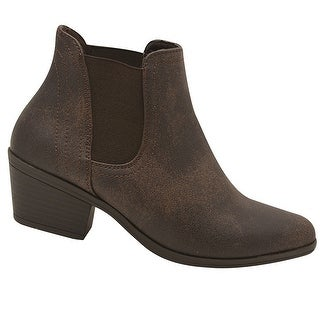 Adult Brown Side Elasticated Insert Casual Trendy Ankle Boots