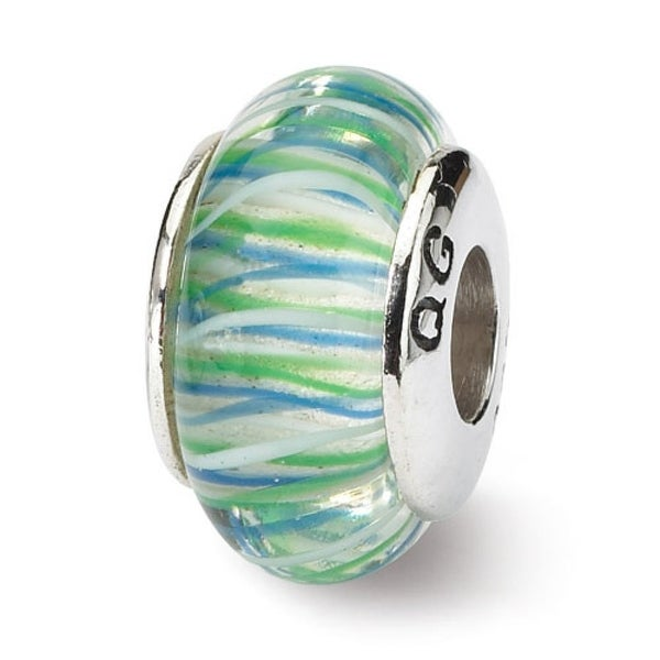 Sterling Silver Reflections Blue/Green Hand-blown Glass Bead (4mm Diameter Hole)