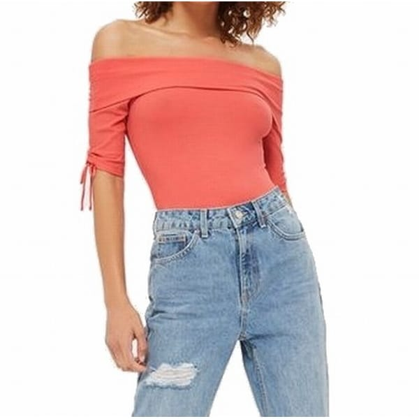 89b60aa9b7922 Shop TopShop Pink Women s Size 8 US 4 Off-Shoulder Rib Bodysuit Knit Top -  Free Shipping On Orders Over  45 - Overstock - 22128470