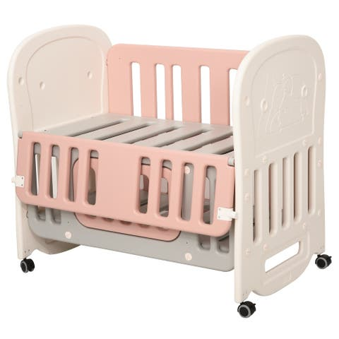 Qaba Convertible Baby Crib 3-in-1 Design Toddler Cot Cradle with Storage Function & 4 Detachable Lockable Wheels