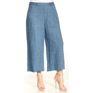 Womens Blue Pinstripe Wear To Work Wide Leg Pants Size 16