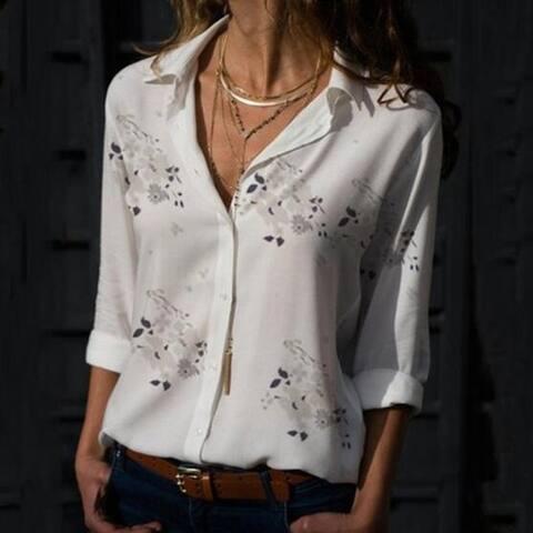 Women's Floral Printed V-Neck Top