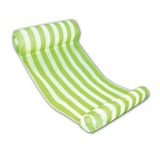 """51.75"""" Green and White Striped Water Hammock Swimming Pool Lounger"""