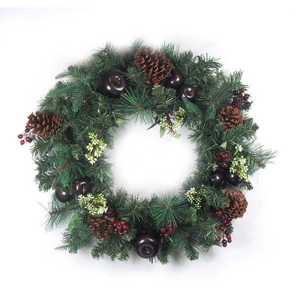 """24"""" Pre-Decorated Red Berry, Pine Cone, Apple Artificial Christmas Wreath -Unlit - green"""