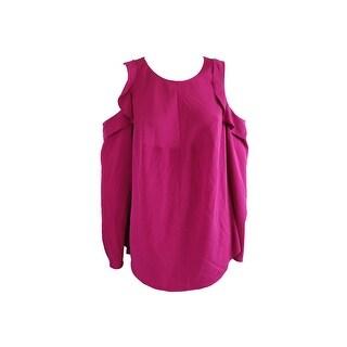 Rachel Rachel Roy Plus Size Dark Pink Ruffled Cold-Shoulder Top 1X