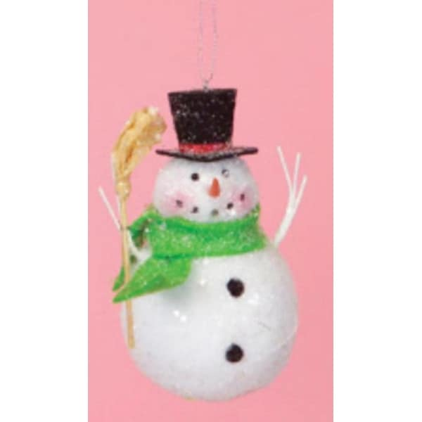 """5"""" Cupcake Heaven Snowman with Broom and Green Scarf Christmas Ornament - WHITE"""