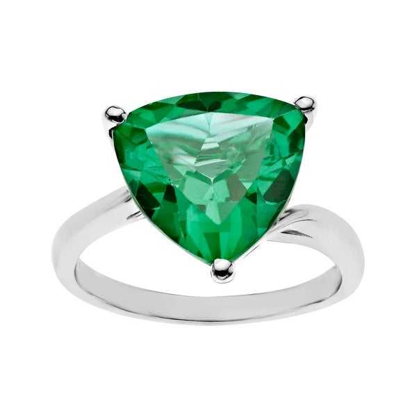 5 ct Green Quartz Ring in Sterling Silver