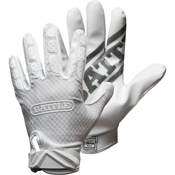 Battle Sports Science Triple Threat Adult Football Receiver Gloves - White. Opens flyout.