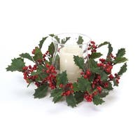 "13"" Bright Red Holly Berries Hurricane Glass Christmas Candle Holder"