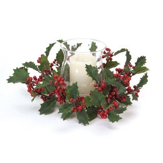 """13"""" Bright Red Holly Berries Hurricane Glass Christmas Candle Holder"""