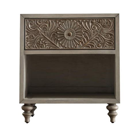 Night Stand with Polyresin Floral Design, Ivory