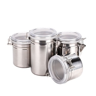 4pcs Stainless Steel Airtight Canister Set Food Container