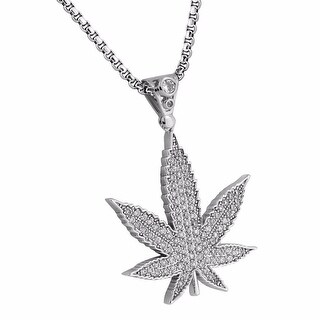 "Mens Marijuana Leaf Pendant 18k Silver Tone Weed Charm Stainless Steel Chain 24"""
