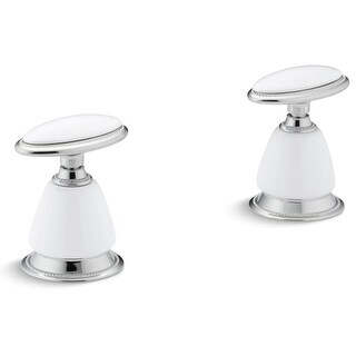 """Kohler K-258 Artist Editions Antique 1-27/32"""" x 3-1/16"""" x 2-3/8"""" Ceramic Handle Insets and Skirts for Bathroom Sink Faucets"""