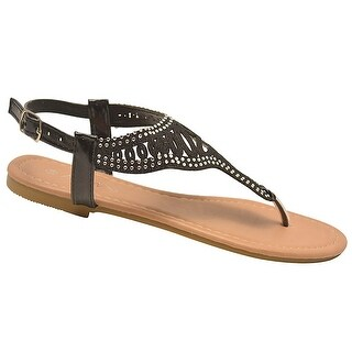 Anna Adult Black Studded Cut-Out Glitter T-strap Flip Flop Sandals