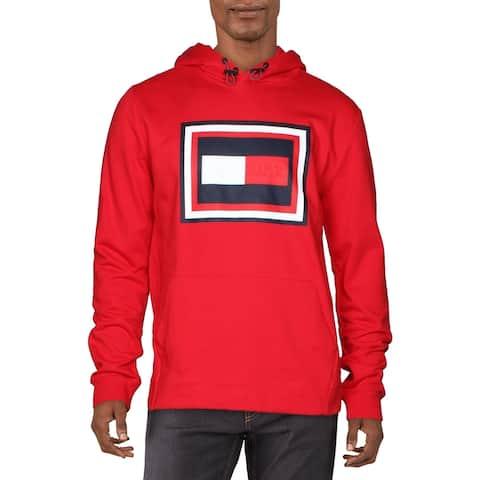 Tommy Hilfiger Mens Hoodie Cotton Logo - Red/Navy - XL