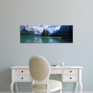 Easy Art Prints Panoramic Image 'Lake surrounded by mountains, Banff National Park, Alberta, Canada' Premium Canvas Art