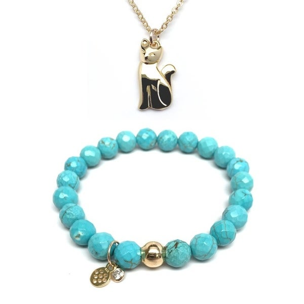 "Turquoise Magnesite 7"" Bracelet & Cat Gold Charm Necklace Set"