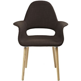2xhome  Mid Century Modern Upholstered Fabric Chair with Light brown Natural Wood Legs Padded Cushion For Kitchen Arms Desk (Brown)