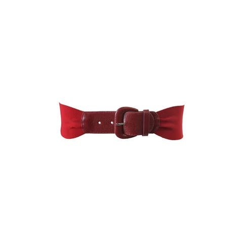 Style & Co. Red Gathered Stretch Belt M-L