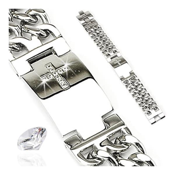 Stainless Steel Bracelet with Paved Gem Cross ID Plate & Double Chains (23 mm) - 8.75 in