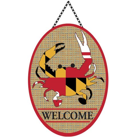 18 Canvas Maryland State Flag Crab Welcome Oval Door Banner - other-frame-size