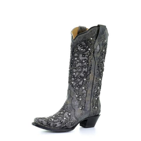 """Corral Western Boots Womens Glitter Inlay Floral 13"""" Gray"""