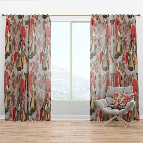 Designart 'Japanese & Chinese Culture Pattern' Oriental Curtain Panel