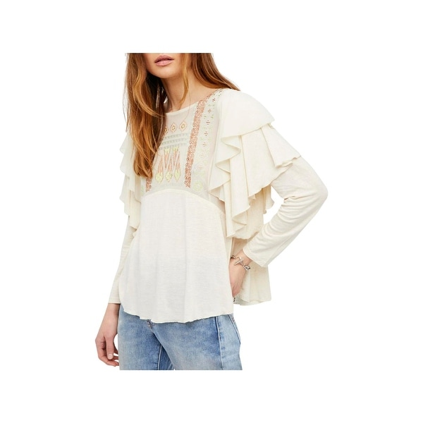 4424f94e44f Shop Free People Womens La Cienga Pullover Top Ruffled Boho - Free ...