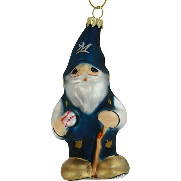 Milwaukee Brewers Blown Glass Gnome Ornament