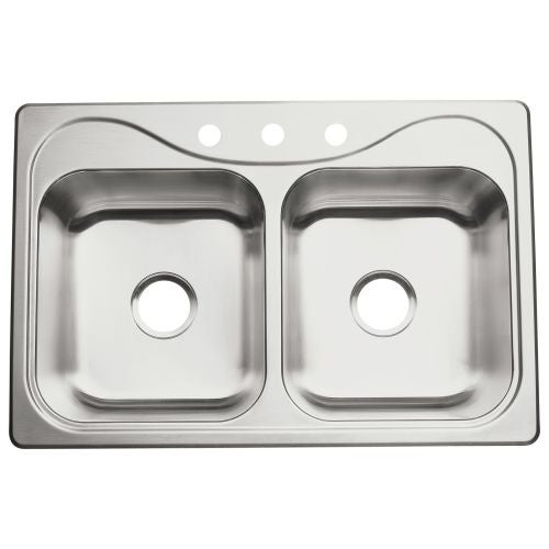 "Sterling 11401-3 Southhaven 33"" Double Basin Drop In Stainless Steel Kitchen Sink with SilentShield®"