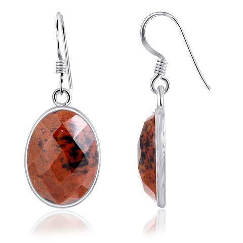 Mahogany Obsidian Sterling Silver Oval Dangle Earring by Essence Jewelry