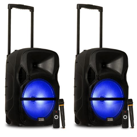 """Acoustic Audio Rechargeable 12"""" Bluetooth Speakers with Lights and Wireless Mics"""