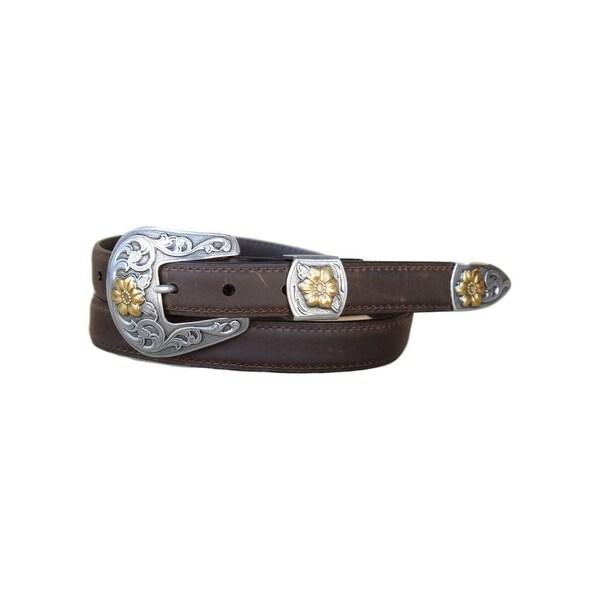 Vintage Bison Western Belt Mens Cordova Leather Stitch Saddle