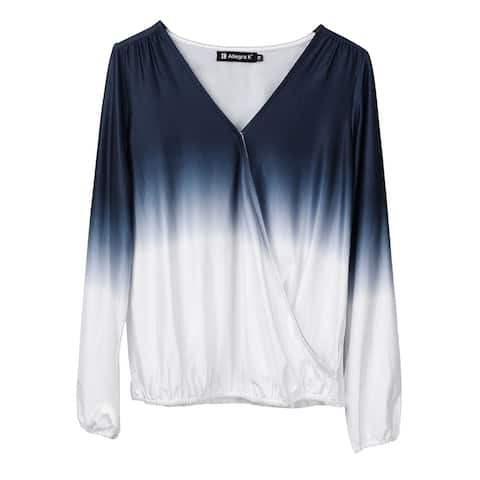 Women's Dip Dye Wrap V Neck Top Long Sleeves Elastic Cuffs Stretchy Casual Blouse - Blue White