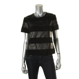 Michael Kors Womens Leather Striped Pullover Top