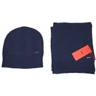 Boss Hugo Boss Men's Blue Wool Scarf and Beanie Hat Matching 2 Piece Set
