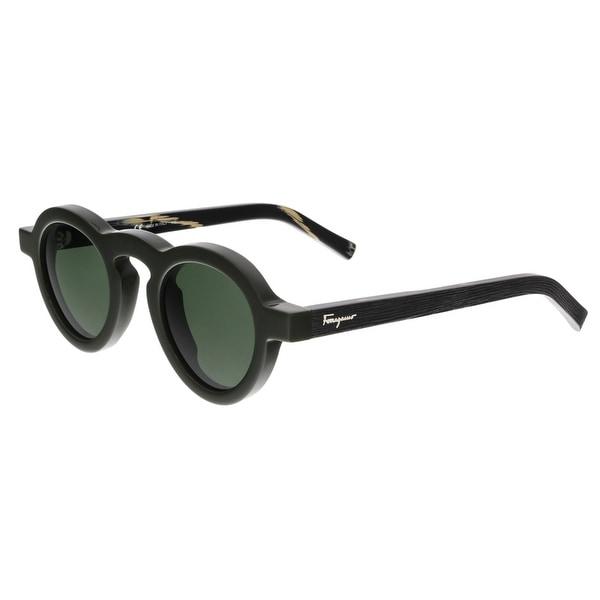 Salvatore Ferragamo SF812/S 300 Dark Green Round Sunglasses - DARK GREEN - 44/25/125